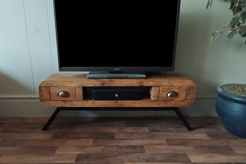 638  : Tv stand narrow retro style with 2 small drawers black frame