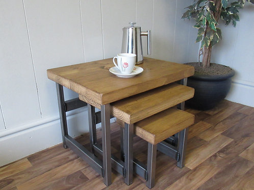 195: Nest of  tables rustic industrial set of 3