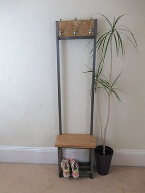 narrow coat stand in solid oak with steel frame