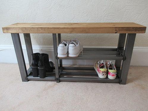 542 : Shoe & Welly boot rack, two shelf hallway bench seat