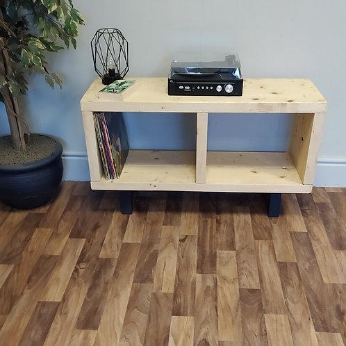 603:  Vinyl record storage, mid century, LP storage, tv stand light oak finish