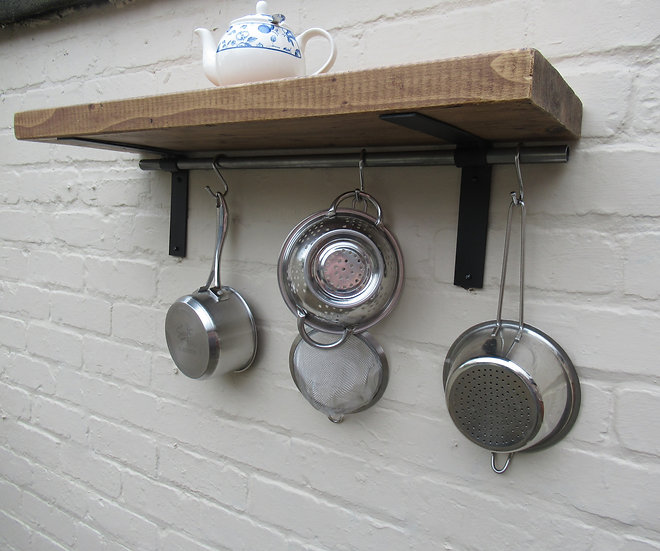 549 : Rustic shelves, kitchen shelves, pan rack, Shelf with pot hanging rail  (1