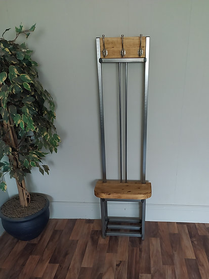 610 - Slim Coat stand with bench seat and shoe rack to base double pole back