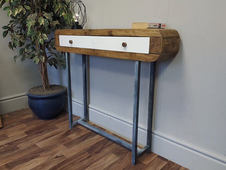621 : Console table solid wood drawer weathered slate effect