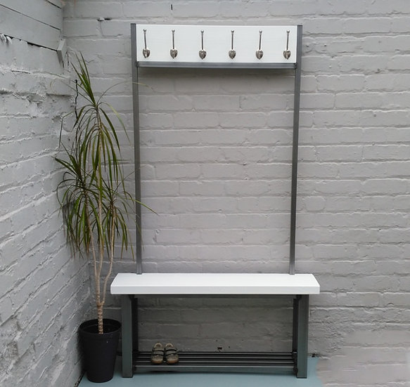 283: Large contemporary White coat stand with bench seat