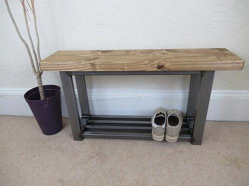 196: Hallway bench with shoe rack metal industrial