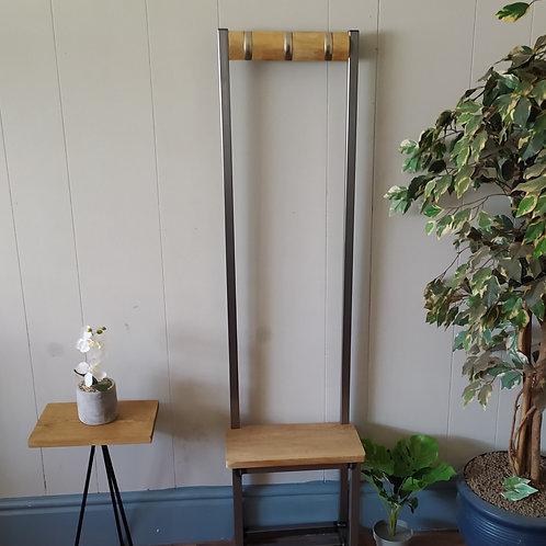 534 : Oak Slim coat stand, solid Oak seat and backboard folding hooks
