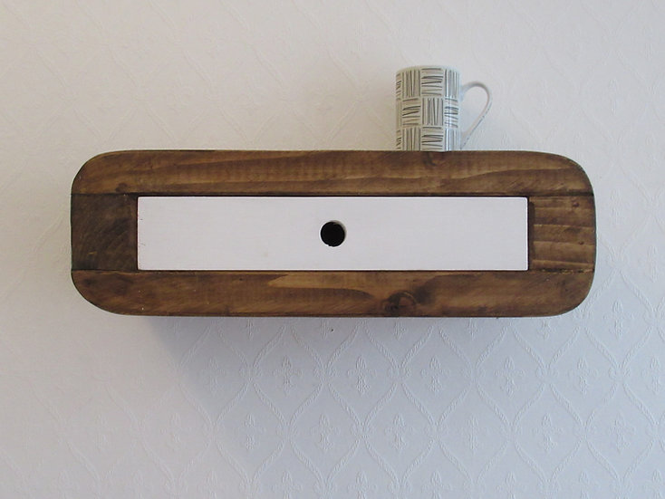 492 : Floating minimalist bedside table with drawer mid century retro style