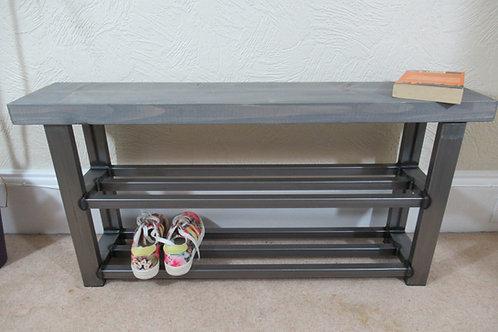 525 : Hallway bench with two shelf shoe rack to base grey wash finish to seat