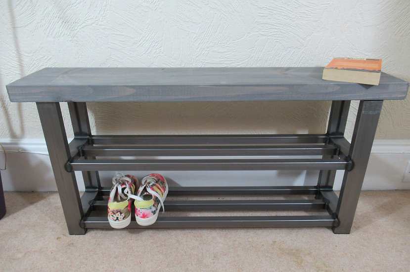 525 : Hallway bench with two shelf shoe rack to base grey wash finish to seat