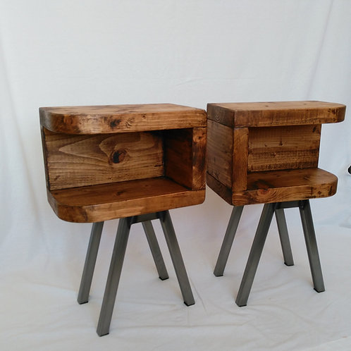 326: Side tables with curved front and steel legs. Bunker style
