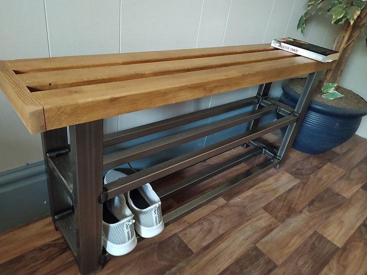 625 : Oak shoe rack bench 2 shelf hallway bench solid oak seat
