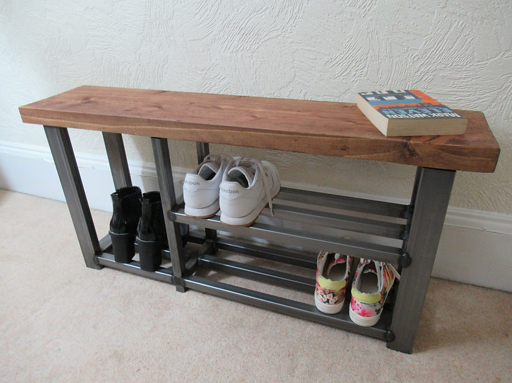 542 : Shoe & Welly boot rack, two shelf hallway bench seat