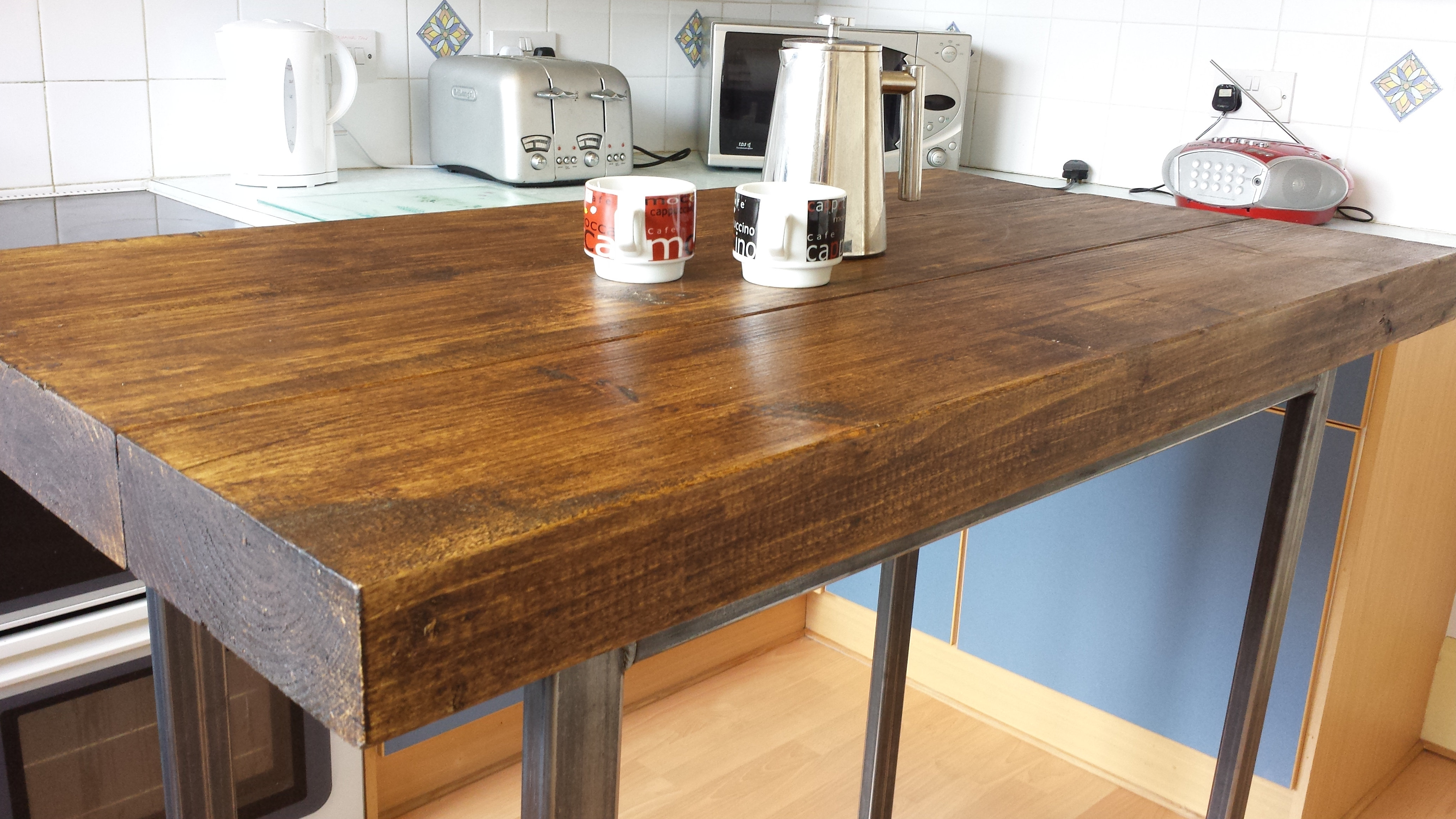 Breakfast bar / kitchen island table rustic wood