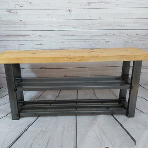 291: Shoe rack bench 2 shelf hallway bench