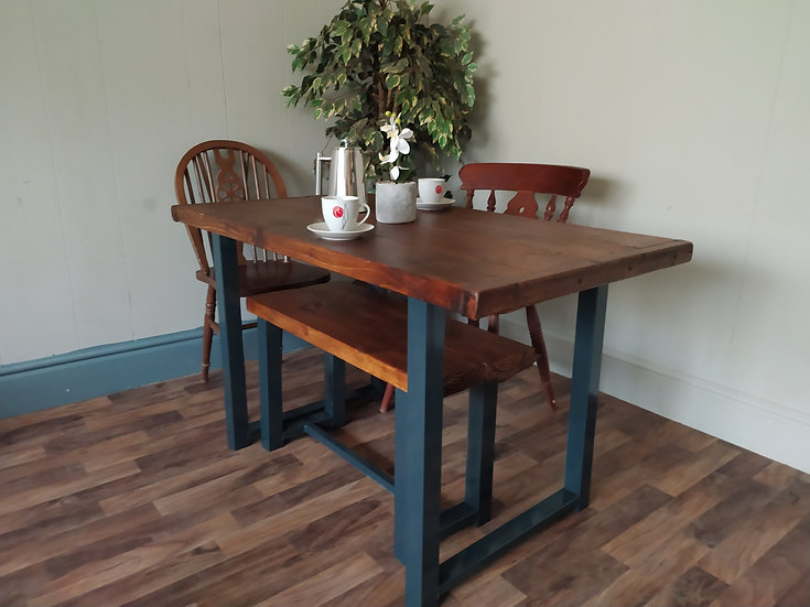 636 : Dining table, Rustic wood kitchen table.