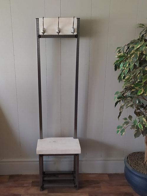 614 : Coat stand narrow hallway bijou coat rack Whitewashed  finish