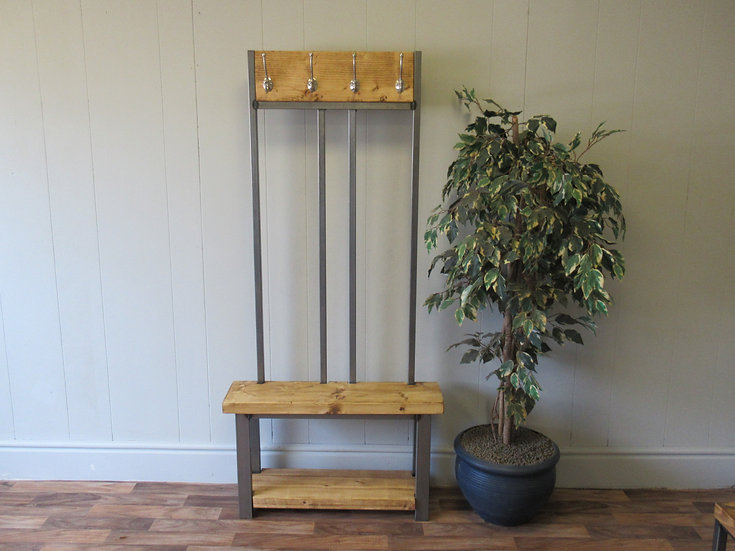 585 - Coat stand with bench seat and shoe rack to base