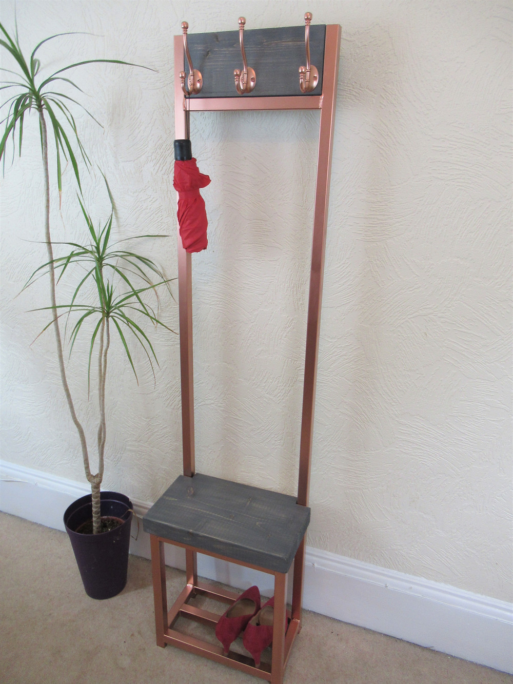 Narrow Coat stand with shoe storage to base