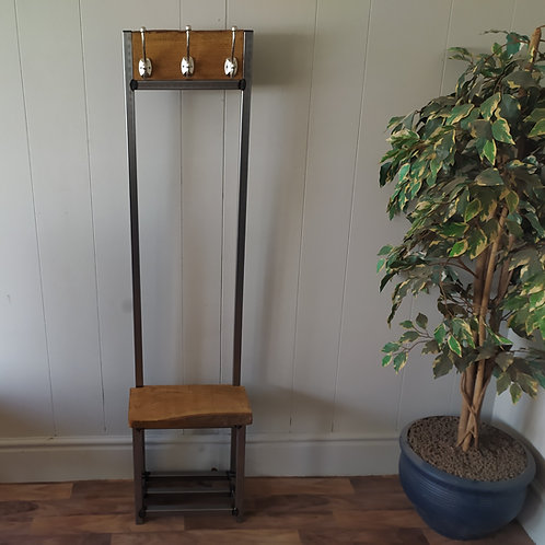 620  : Oak narrow coat stand, slim solid oak Waney edge seat
