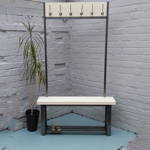286: Large contemporary coat stand with bench seat finished in Cream