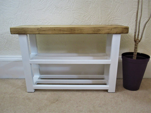 579 : Shoe rack hallway bench with storage shelves in White