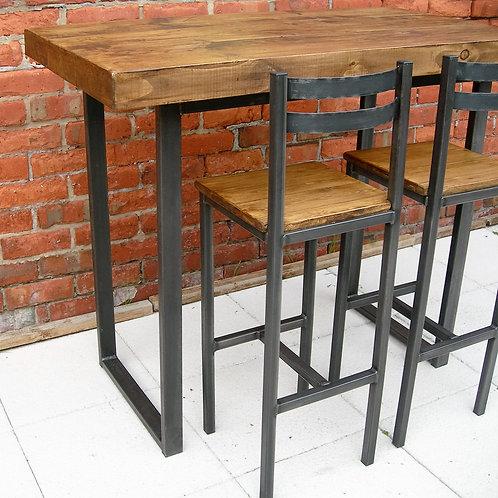 228: Breakfast bar table & two bar stools industrial