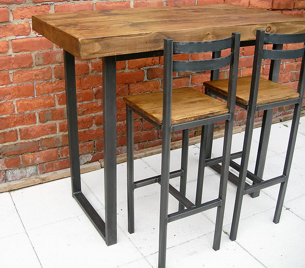 228: Breakfast bar table & two bar stools industrial