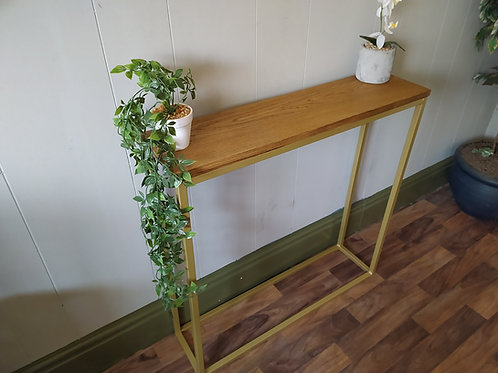 483 : Console table slim solid oak top contemporary styling