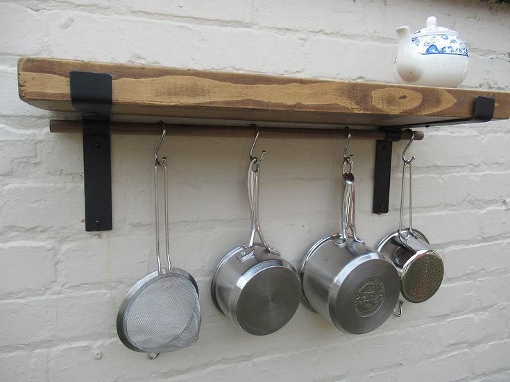 539 : Rustic shelve pot /pan Oak hanging rail solid wood