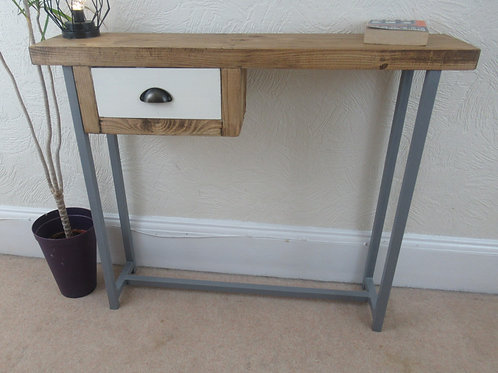 581 : Console table with small painted drawer grey painted frame