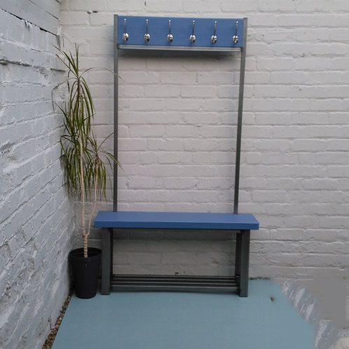 284: Large contemporary coat stand with bench seat Pitch blue
