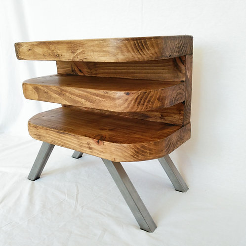 327: Side or Bedside table with curved shelf front and steel base