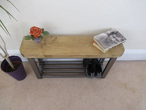231: Rounded front shoe storage bench