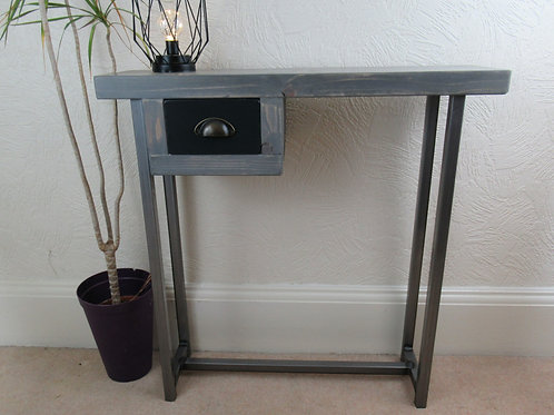 576 : Console table with small painted drawer, Greywash finish