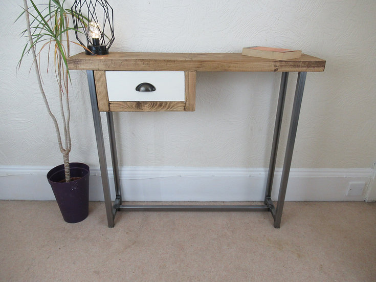 561 : Console table with small white drawer various handles and steel frame