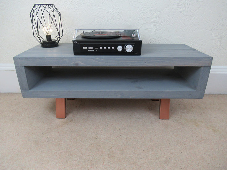 C : Contemporary tv stand Moonlight Grey wash with bright copper legs 90cm