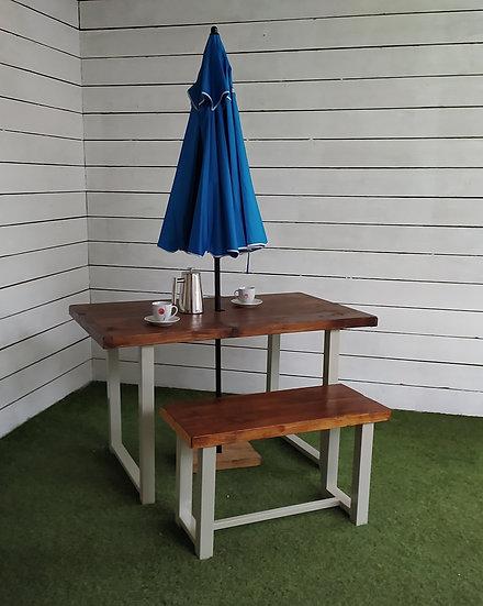 633 : Garden table, patio dining table dark oak finish