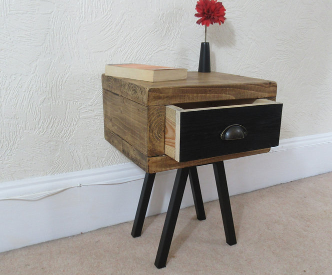 476 : Side table with black drawer front  & frame