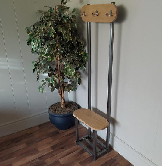 605 : Oak Slim coat stand, Oval design solid Oak seat and backboard