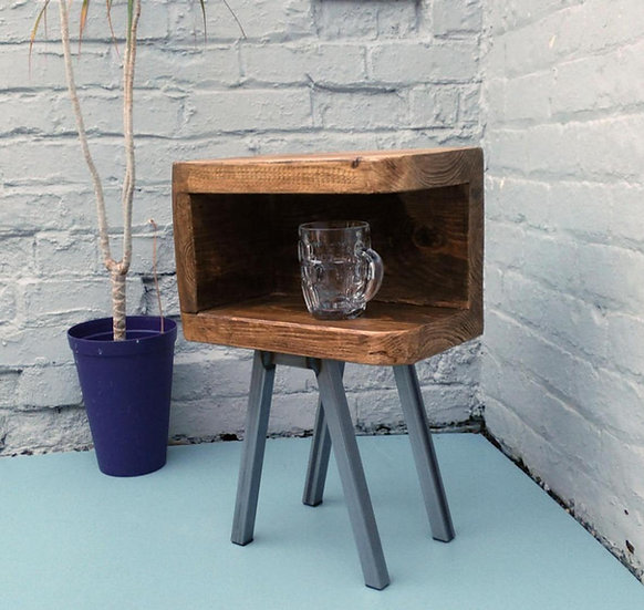628 : Side table with curved front and steel legs Bunker style rustic industrial