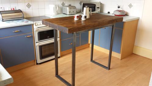Breakfast Bar Kitchen Island Table Rustic Wood