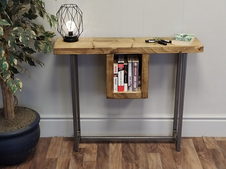 599 : Console table contemporary tall table with slim shelf to middle