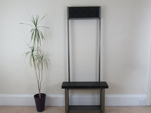 623 : Coat stand large contemporary with bench seat finished in black