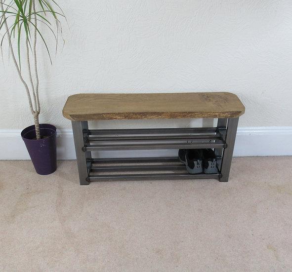 411:  Oak shoe bench with two shelf storage to base