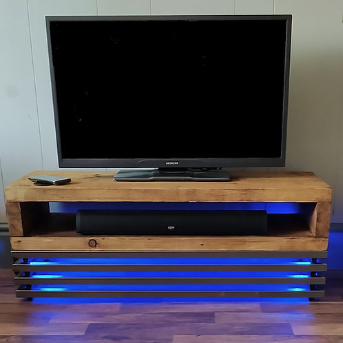 555 : Tv stand rustic industrial gamers tv table media unit, interactive lights