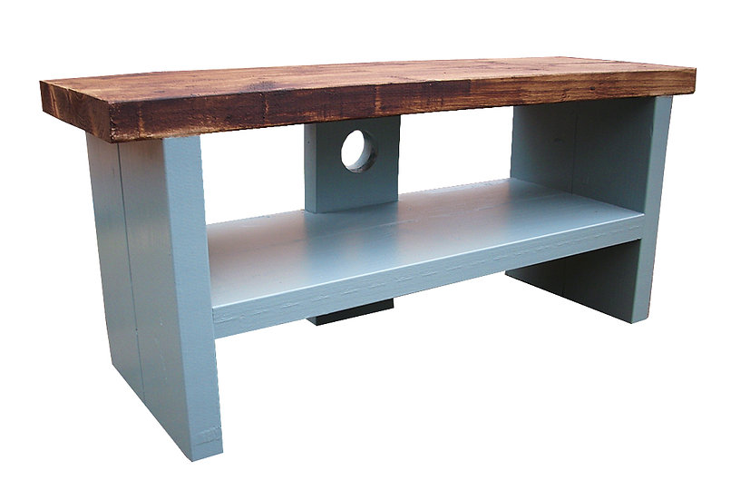 150 - Tv stand rustic top with Oval room blue base