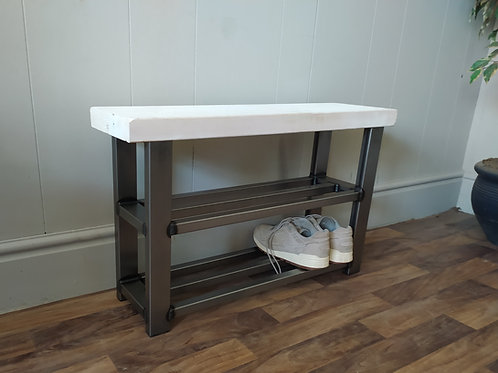 615 : Hallway bench with two shelf shoe rack to base whitewashed seat