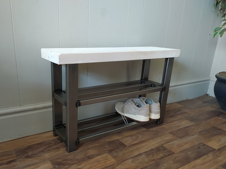 615 : Hallway bench with two shelf shoe rack to base whitewashed seat