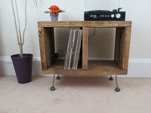 522:  Vinyl record storage, retro atomic ball feet, mid century, tv stand